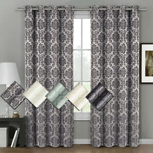 Image Is Loading Aryanna Jacquard Grommet Top Curtain Set Of 2