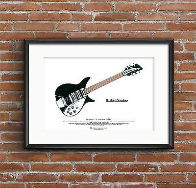 John Lennon's 1964 Rickenbacker 325 Capri ART POSTER A3 size
