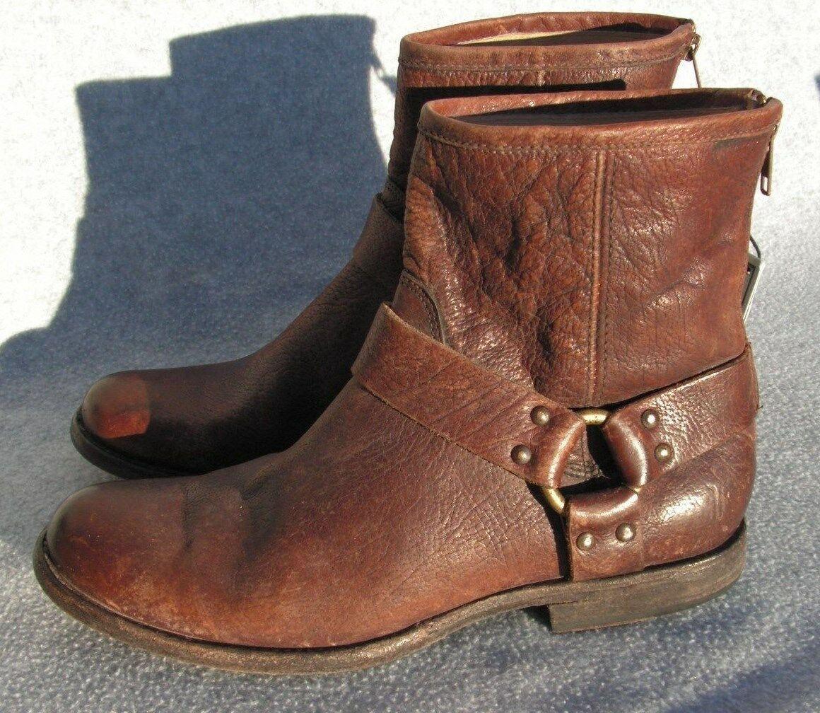 Frye 'Phillip Harness' Short Washed Leather western Boot Size 7  Brown