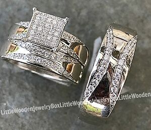 wedding ring sets his and hers his and hers real sterling silver engagement ring wedding 9996