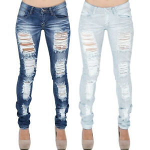 Women-Solid-Stretch-Distressed-Ripped-Skinny-Jeans-Trousers-Legging-Pencil-Pants