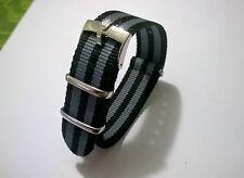 20mm NATO BOND cinturino per orologio nero grigio con fibbia Rolex