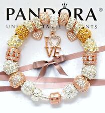 Authentic Pandora Silver Bracelet 14k Rose Gold Clasp Euro Charms
