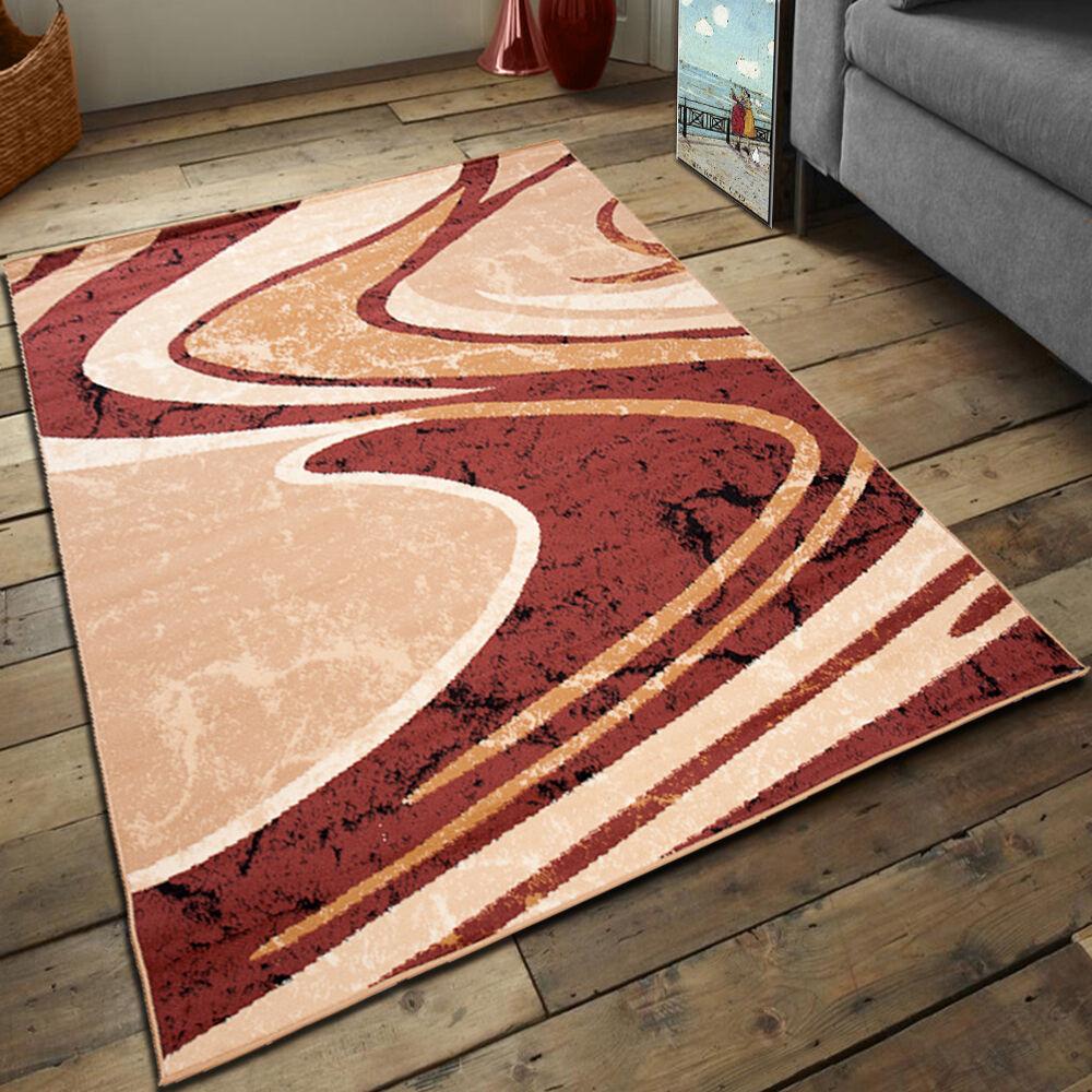 TOP Designer Kurzflor Kurzflor Kurzflor Teppich Gestreift Modern Teppiche Viele Größen Braun Beige fe3e23
