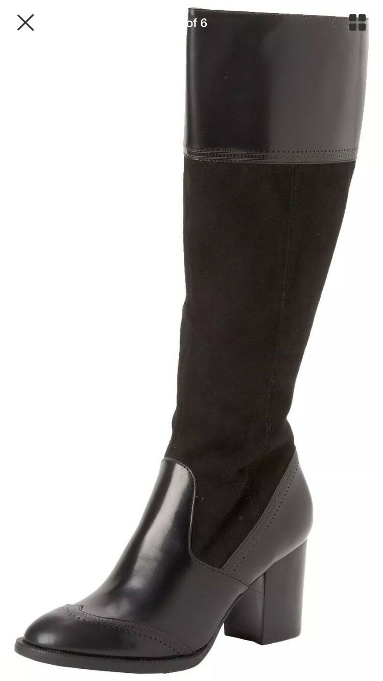 Nicole  Alyssa schwarz suede leather contrasr knee-hight Stiefel sz 6.5