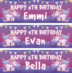 2-Striscione-di-compleanno-personalizzata-Unicorno-Stella-Bambini-Bambini-Festa-POSTER-Bunting
