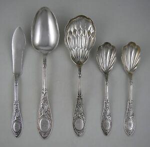 Sterling-Whiting-ARABESQUE-Pat-1875-flatware-set-5-pcs