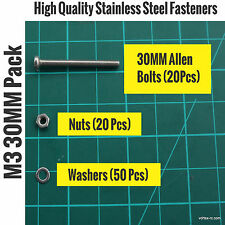 Metric M3 30MM Stainless Steel Allen Bolts (20)+Washers(50)+Nuts(20)