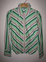 TOMMY HILFIGER Bluse Baumwolle gestreift grün weiß rosa rot Gr. S