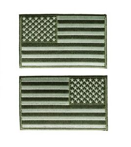 """5/"""" x 3/"""" Subdued Green AMERICAN FLAG iron on patch Choice of Style 5645//46"""