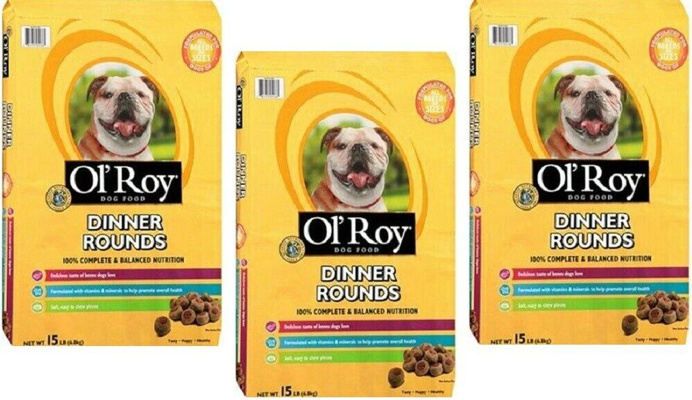 Ol' Roy Dinner Rounds Dry Healthy Dog Food, Balanced Nutrition 15 lb ( 3 Bags )