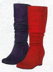 New Round Toe Slouchy Medium Wedge Heel Calf Knee High Boots Red Purple Black