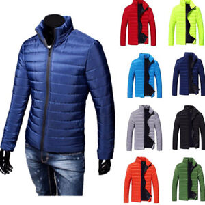 NEW-Men-039-s-Winter-Thick-Padded-Jacket-Zipper-Slim-Outwear-Coat-Warm-TOP