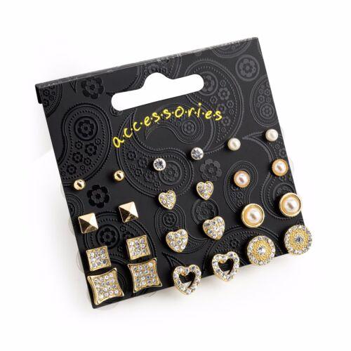 12 Pairs Diamante Cream Pearl /& Gold Colour Stud Earring Set