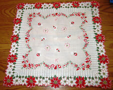 Vtg Batiste Christmas Hankie Poinsettia Holly Ornaments Shaped Border 1950s