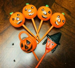 Vintage Halloween Cupcake Toothpick Decorations - Lot of 6 ...