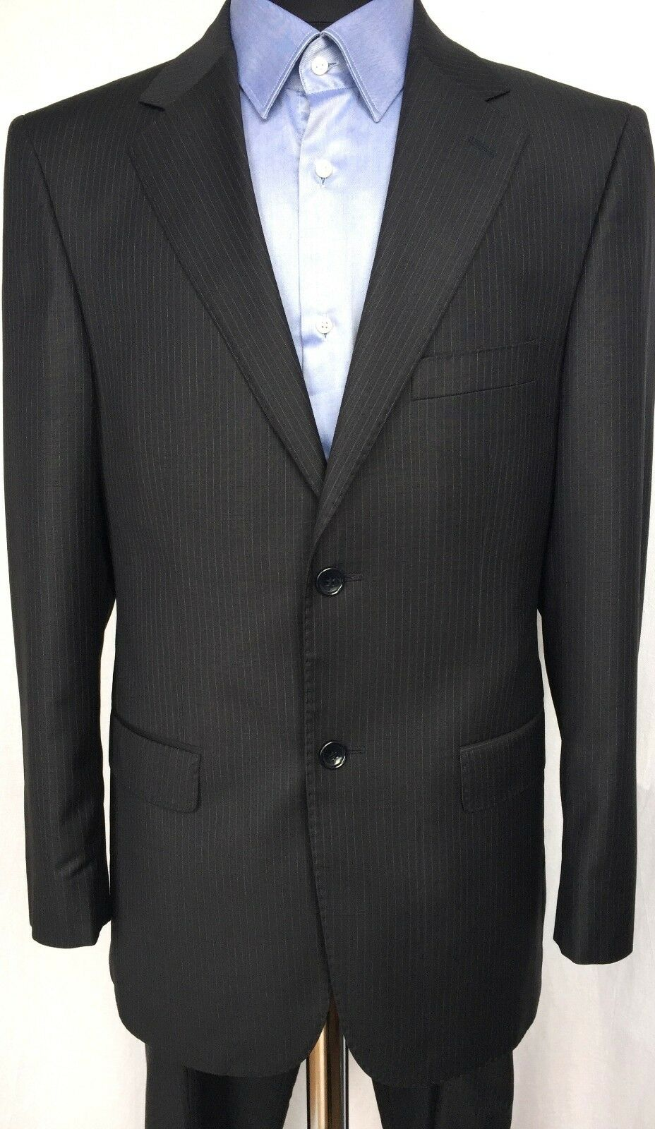 PAULO CONTE Milano Classic 2 Piece Wool Suit Button Striped Navy bluee 46 W31 L31