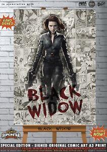 Black-Widow-Scarlett-Johansson-Avengers-Comic-SUPERSTAR-A3-Signed-Print