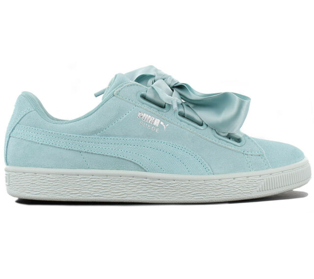 new concept 19174 129e8 Puma Suede Heart Pebble Women's Sneaker Leather Turquoise 365210-03 Sneakers