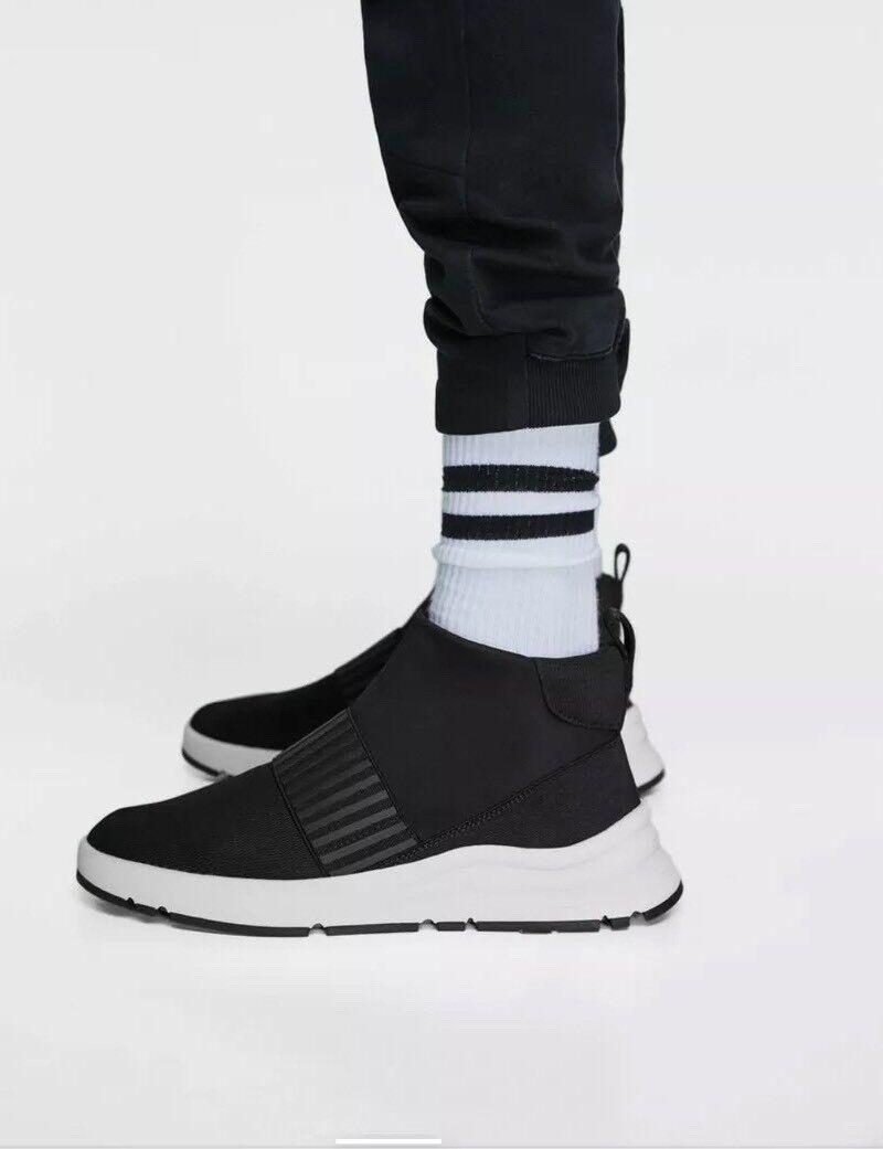Nuevo Zara Hombre Negro De Tela técnico de alta Tops Zapatos Talla 9