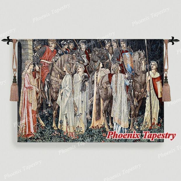 98 x 140cm, Heilige Gral Wandteppich Wandbehang  Abreise der Ritter