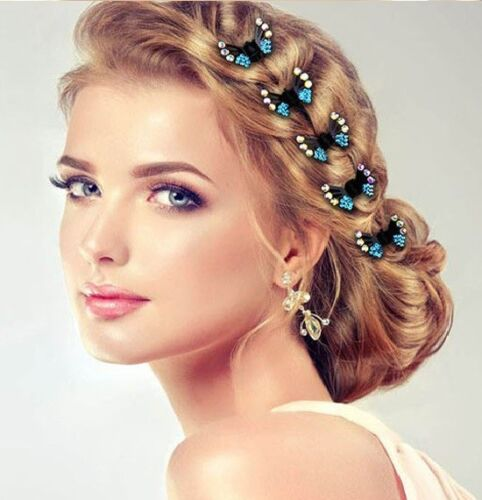 BRIDES GIRLS RHINESTONE BUTTERFLY MINI HAIR CLAW CLIPS WEDDING PARTY GRIPS UK