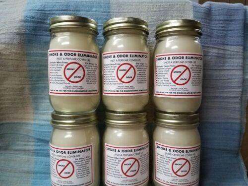 Six 16 oz Original Smoke /& Pet Odor Eliminator Wax Candles   Hand Made in USA