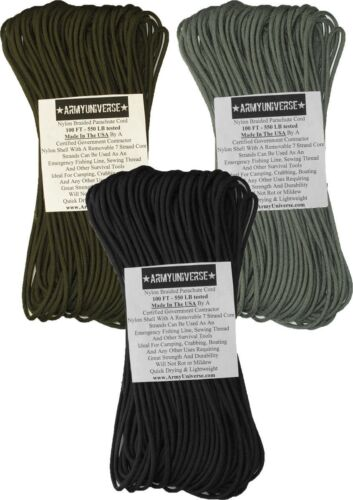 3 Pack 550LB 100% Nylon Paracord Type III Rope 300 Feet USA Made