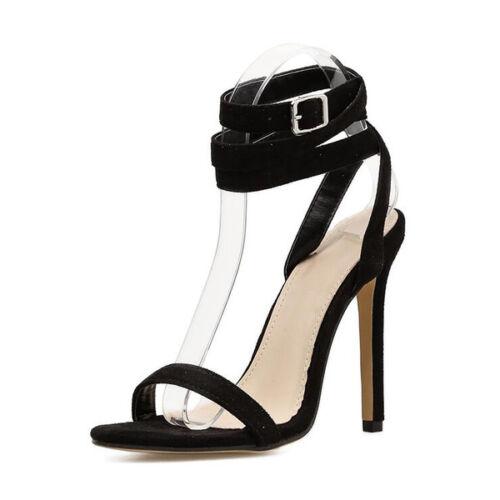 12 Cm Nero Lacci Stiletto Sandali Simil Eleganti Tacco Pelle 1024 qxBtnZf