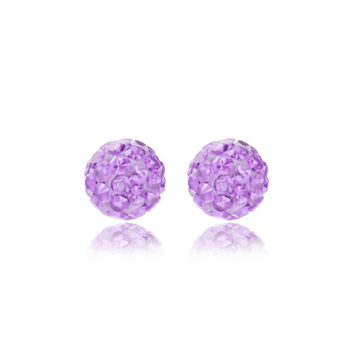 Gift box Sterling silver 6mm lilac glitterball crystal Andralok stud earrings