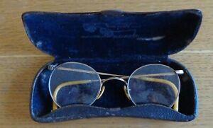 Vintage-Antique-Eyeglasses-Glasses-amp-Case-East-European-Romania