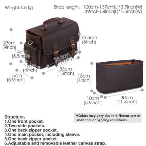 Vintage Leather Camera Bag For Canon Nikon DSLR Shoulder Bag Satchel Briefcases