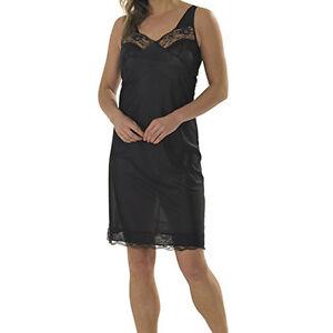 34b838bb0988 Ladies Black White Full Slips Nightdress Knee Length Lace Trim Long ...