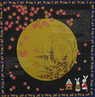 Furoshiki Japanese Fabric Cloth 'Rabbits and the Harvest Moon' Cotton 50cm