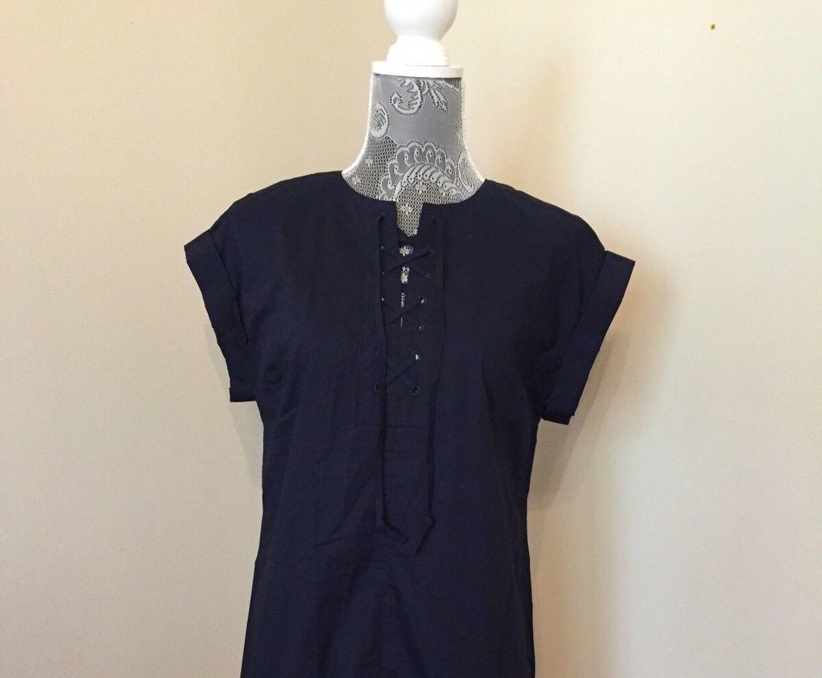 nouveau Jcrew Tall Lace Up Cotton Shirt Robe NAVY G6001 TS petit SOLD OUT