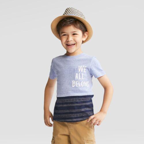 """NWT /""""WE ALL BELONG/"""" Cat /& Jack Toddler Blue Short Sleeve Shirt"""