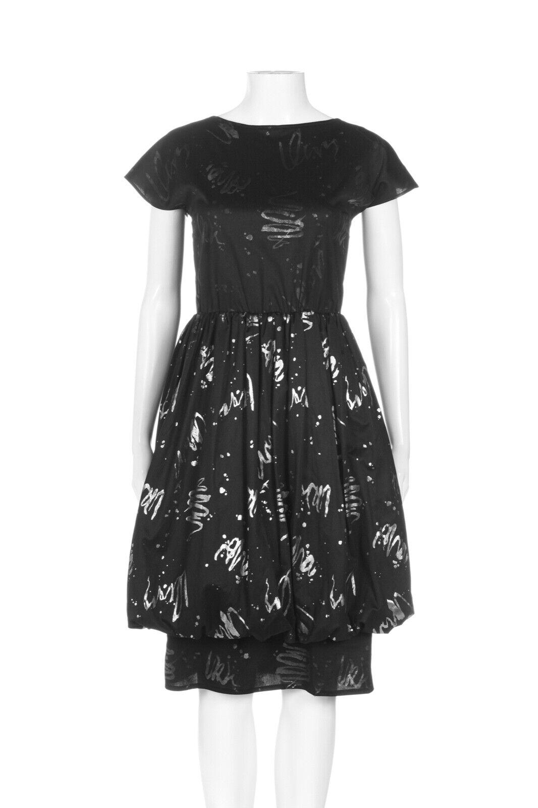 HANDMADE Balloon Dress Small Black Silver High Ne… - image 1