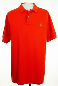 Polo-Ralph-Lauren-Mens-XL-Orange-Red-Solid-Logo-Polo-Rugby-Short-Sleeve-Shirt