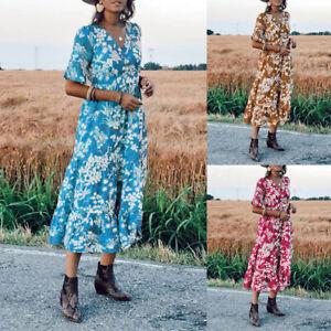 Belle-Femme-Robe-Boheme-Imprime-Floral-Manche-Courte-Plage-Loose-Dresse-Plus