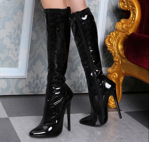 Womens 12cm Stilettos high Heels Knee High Boots Pole Dancing shoes Pointed Toe