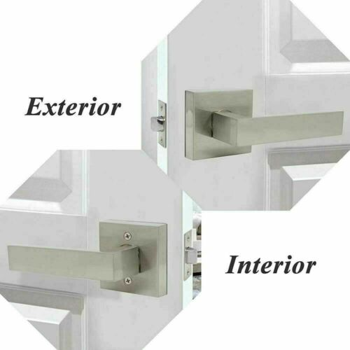 Satin Nickel Square Door Handle Lever Entrance Privacy Passage Dummy Bedroom