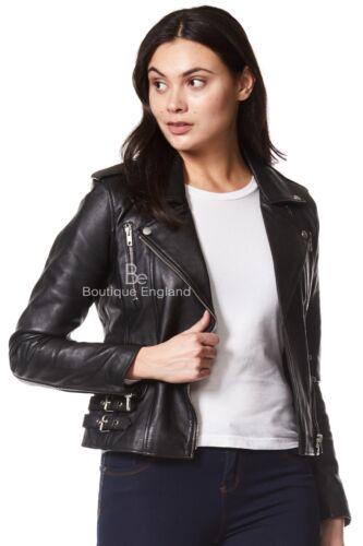/'MYSTIQUE/' Ladies Real Leather Jacket Black Designer Biker Motorcycle Style 7113