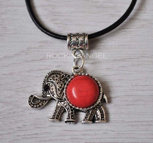 Plata Antigua Plt /& Rojo Turquesa Elefante Colgante Collar Reiki amante de los animales