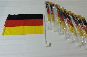 Deutschland Fussball EM / WM  Auto Fahne 30x45 cm SCHWAR-ROT-GOL<wbr/>D 10er Pack