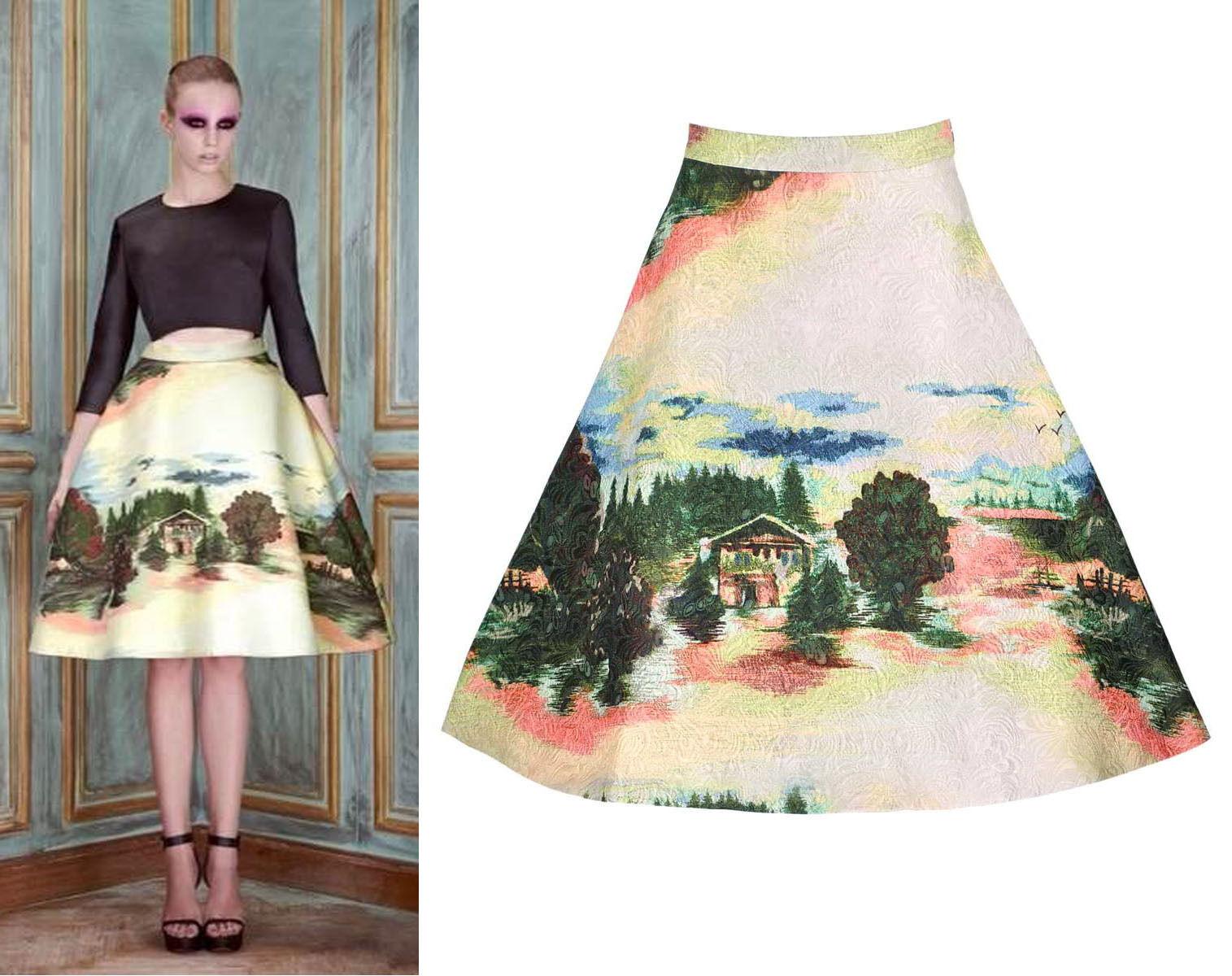 Landscape Paint Print Jacquard 3D A-line Structure Statement Circle Skirt Bonded