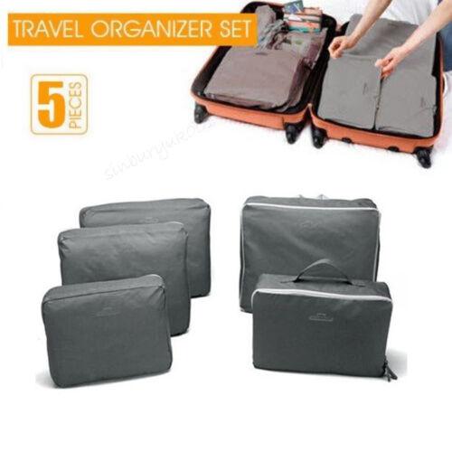 5pcs Packing Cubes Luggage Storage Organiser Travel Compression Suitcase Bag USA