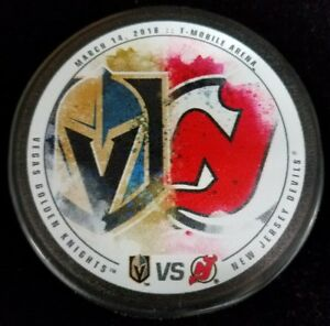 2018 VEGAS GOLDEN KNIGHTS vs NEW JERSEY DEVILS PUCK LIMITED EDITION ... 5861906f2