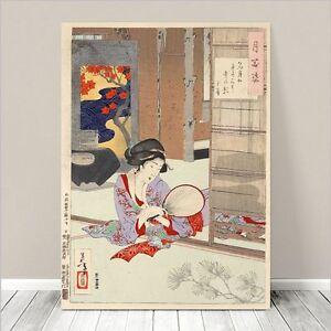 "Beautiful Japanese GEISHA Art ~ CANVAS PRINT 8x10"" Woman with Fan"