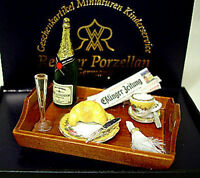 Dollhouse Miniature Reutter Porcelain Champagne Breakfast In Bed 1:12 Scale