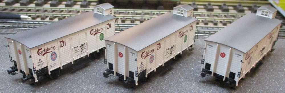 BRAWA HO 48277 Set vagón de carga 3 PCS.  Carlsberg  DSB ep.ii NUEVO Y EMB.